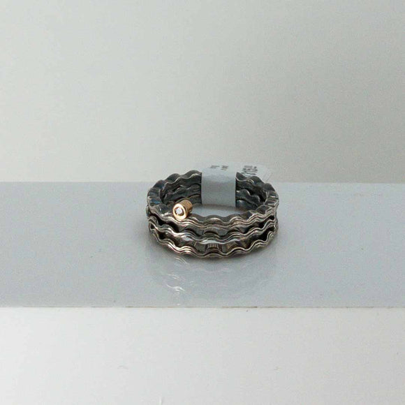 Wave Stacking Rings with 14k Gold Tube-Set Diamond