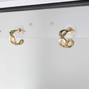 18k Small Carved Infinity Hoop Earrings