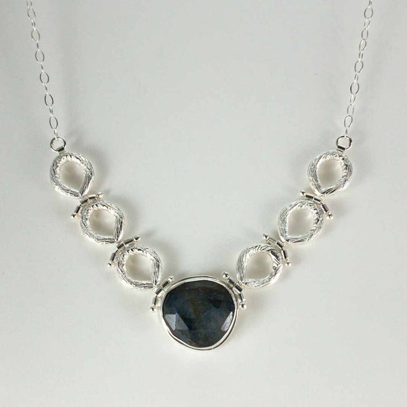 Sterling Silver Carved Circle Labradorite Necklace