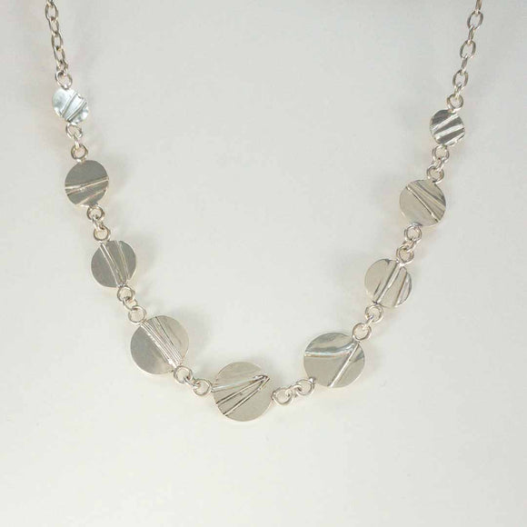 Sterling Silver Textured Disk Necklace