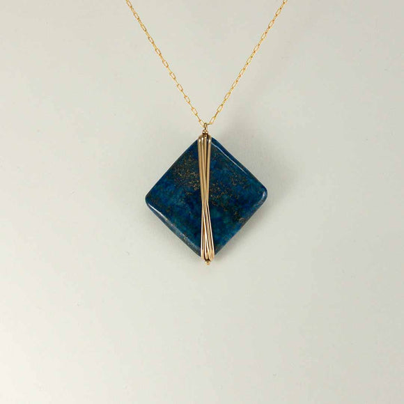 Diamond Gold-filled Necklace long (lapis)