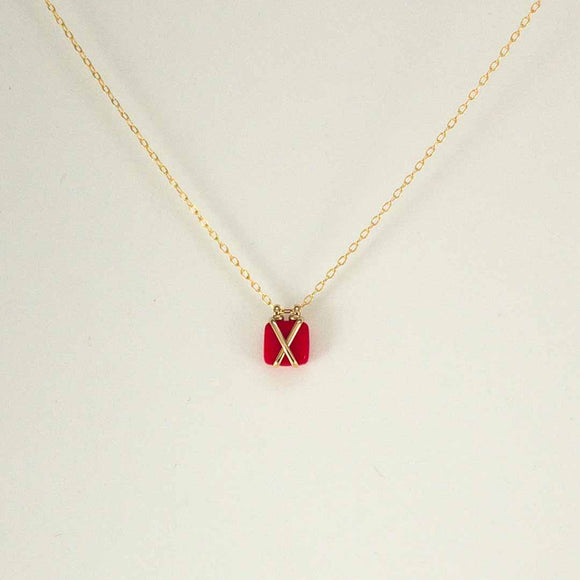 Bound Gold-filled Necklace (red glass)