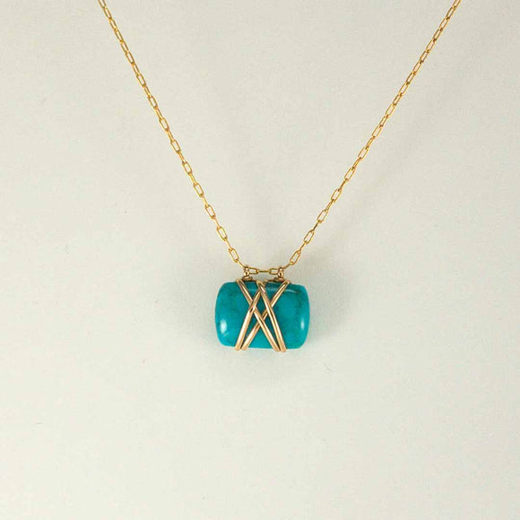 Double Bound Gold-filled Necklace (turquoise)