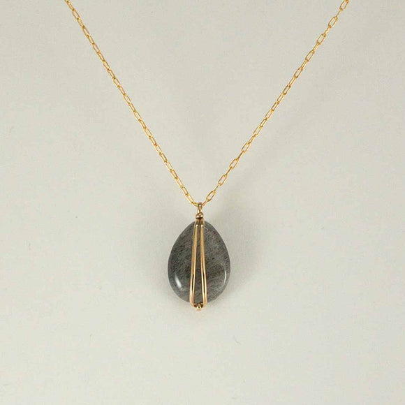 Drop Gold-filled Necklace (labradorite)