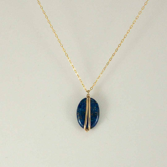 Oval Gold-filled Necklace (lapis)