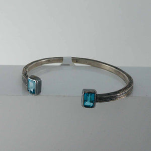 Silver Carved Cuff with London Blue Topaz
