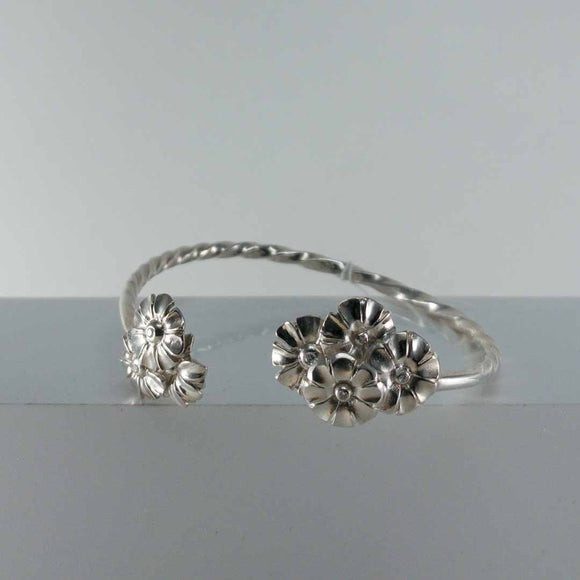Sterling Silver Flower Cuff with Diamonds