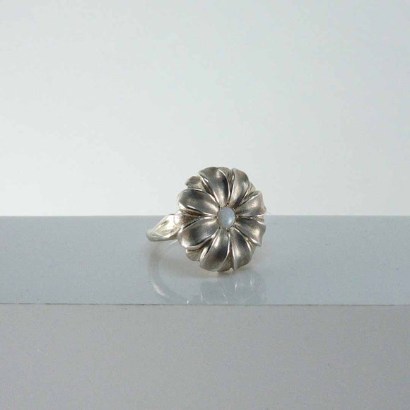 Sterling Silver Flower Ring with Opal