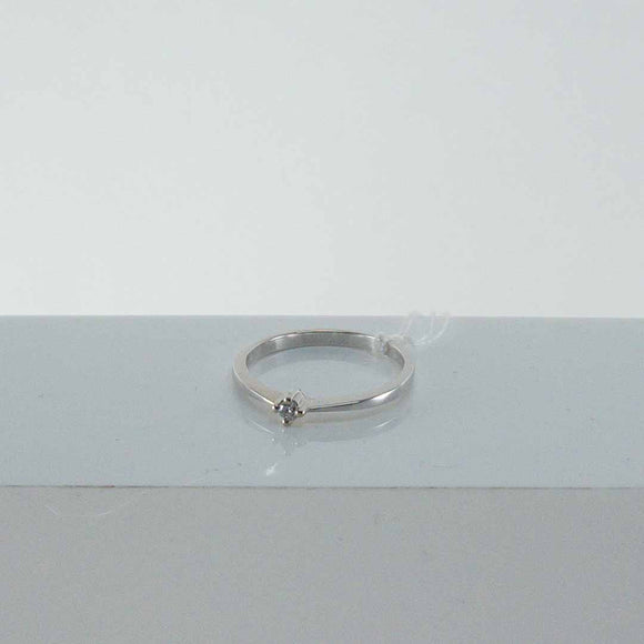 14K White Gold Single Diamond Ring