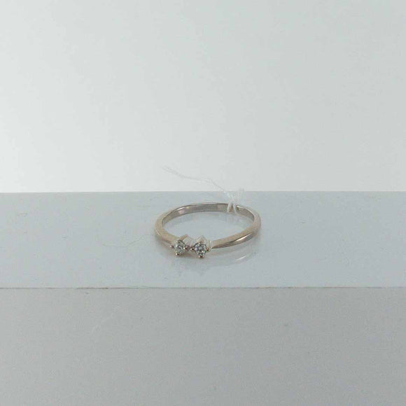 14K White Gold Double Diamond Ring