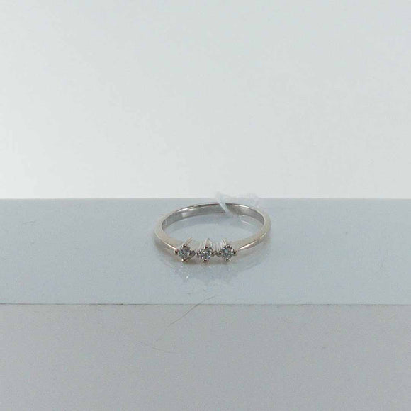 14K White Gold Triple Diamond Ring