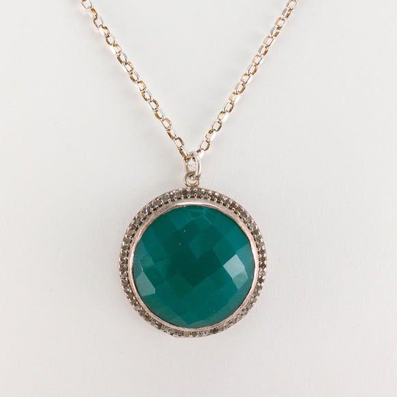 Round Checkerboard Large Green Onyx and Pavé Diamond Necklace