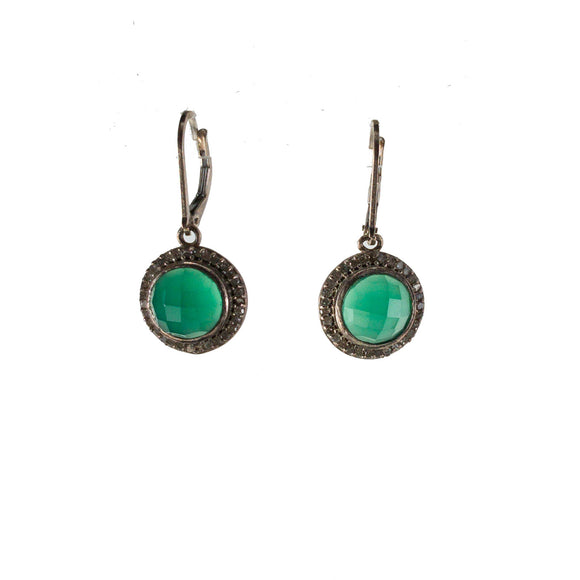 Small Tourmalinated Green Onyx Pavé Diamond Earrings