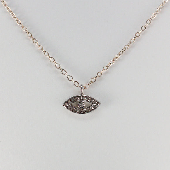 Evil Eye Pavé Diamond Sterling Silver Necklace