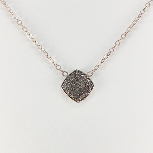 Angled Square Pavé Diamond Sterling Silver Necklace