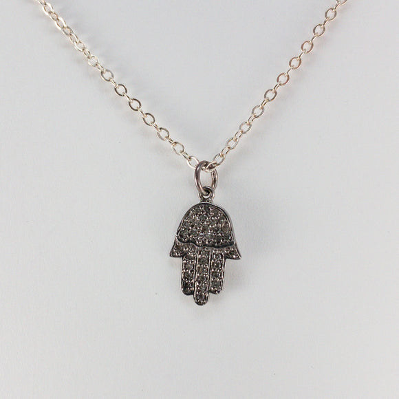 Hamsa Pavé Diamond Sterling Silver Necklace