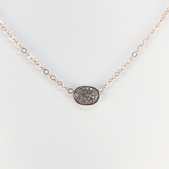 Oval Pavé Diamond Sterling Silver Necklace