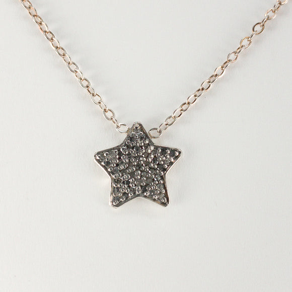Star Pavé Diamond Sterling Silver Necklace