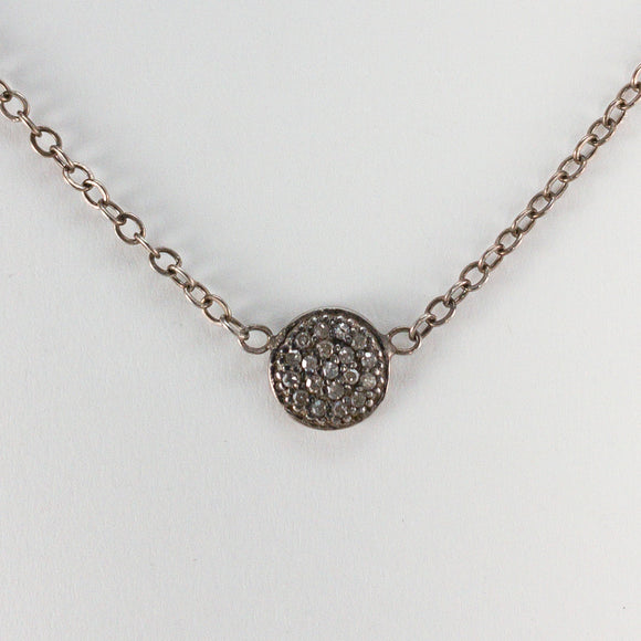 Small Round Pavé Diamond Sterling Silver Necklace