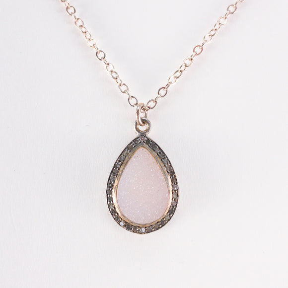 Teardrop Peach-Pink Druzy and Pavé Diamond Necklace