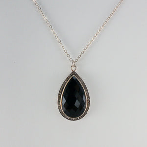Pear-Shaped Checkerboard Black Onyx and Pavé Diamond Necklace