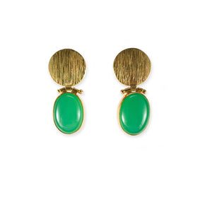 Chrysoprase 18k Gold Hinged Earrings