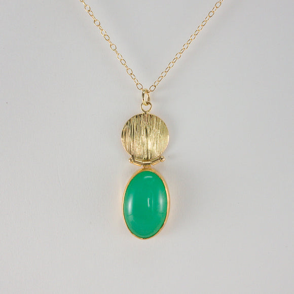 Chrysoprase 18k Gold Hinged Necklace