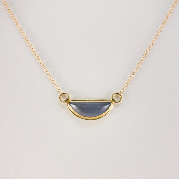 Blue-Gray Chalcedony 18k Gold Necklace