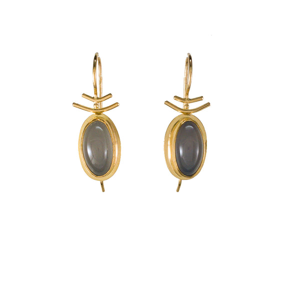 Blue Chalcedony 22k Gold Bezel Earrings