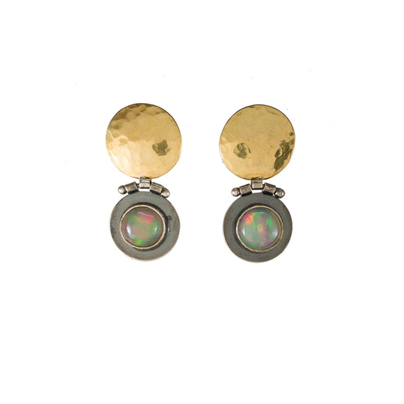 Opal Post Earrings in Sterling Silver and 18k Gold