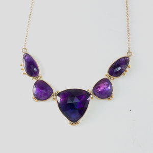 Sterling Silver Amethyst Necklace with Diamonds and 18k Detail