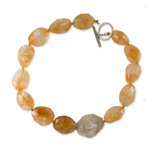 "Chunky Citrine Sterling Silver 18"" Necklace"