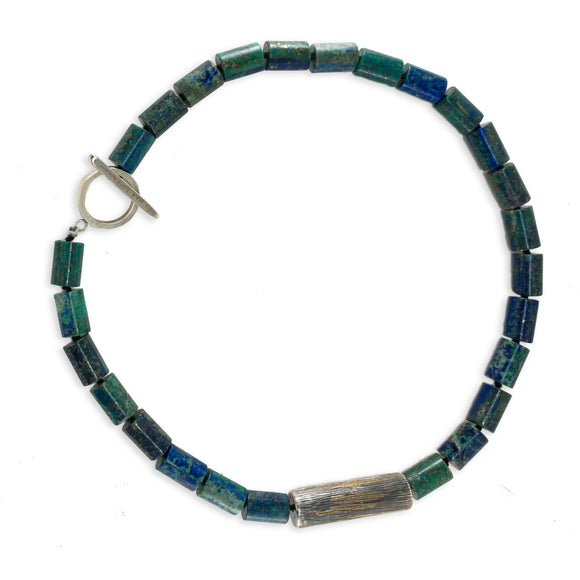 Azurite Silver & 18k Gold Bead Necklace