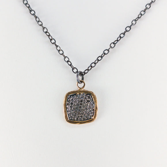 Square Pavé Diamond Sterling Silver & 18k Necklace