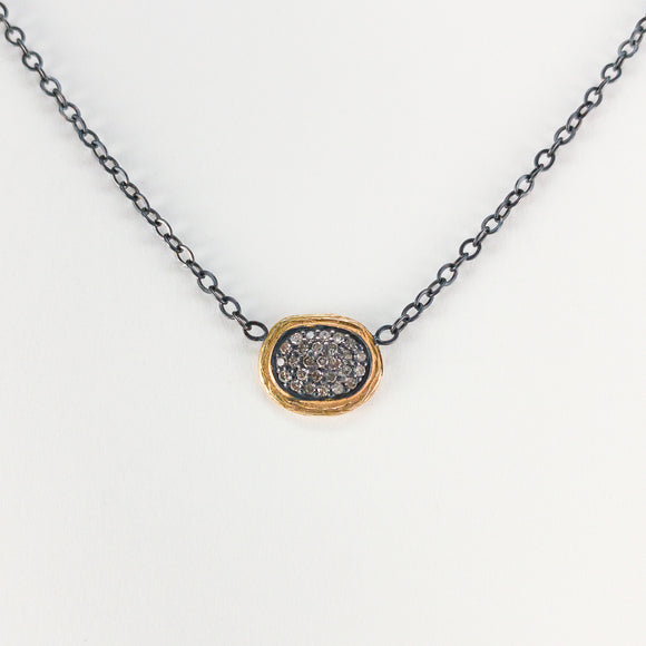 Oval Pavé Diamond Sterling Silver & 18k Necklace
