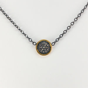 Round Pavé Diamond Sterling Silver & 18k Necklace