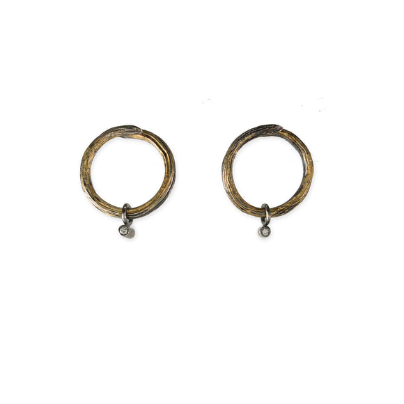 Sterling Silver Hoop & 18k Gold Diamond Earrings