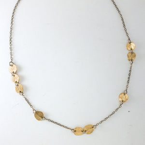 Scattered 18k Carved Disc and Sterling Silver Necklace