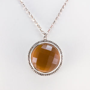 Round Checkerboard Large Citrine and Pavé Diamond Necklace