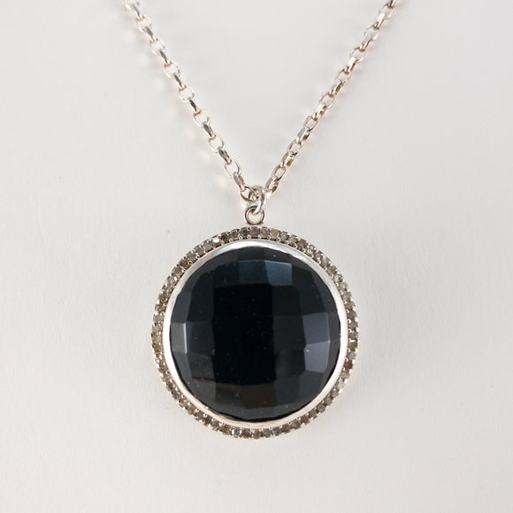 Round Checkerboard Large Onyx and Pavé Diamond Necklace