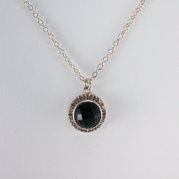 Round Checkerboard Small Onyx Pavé Diamond Necklace