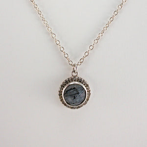 Round Checkerboard Small Tourmalinated Quartz Pavé Diamond Necklace