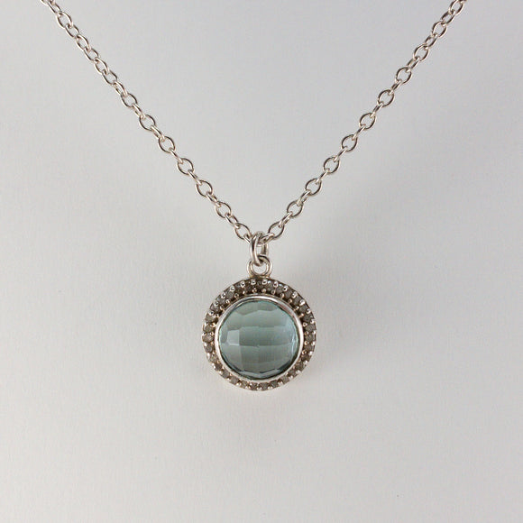 Round Checkerboard Small Blue Topaz Pavé Diamond Necklace