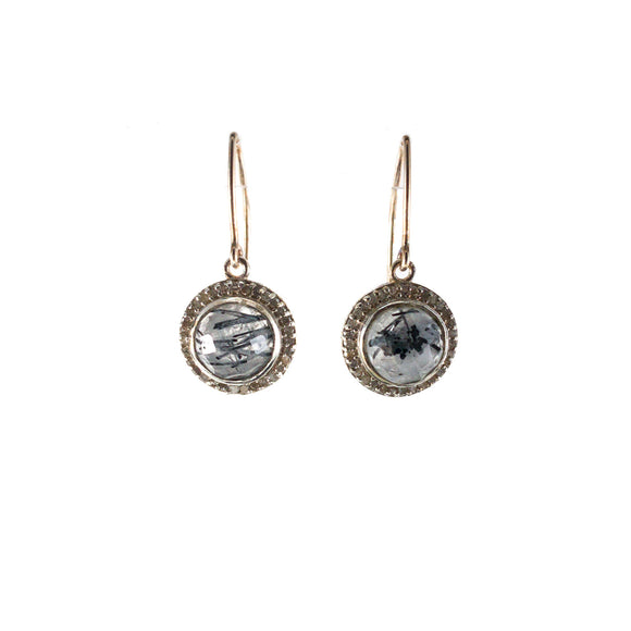 Small Tourmalinated Quartz Pavé Diamond Earrings