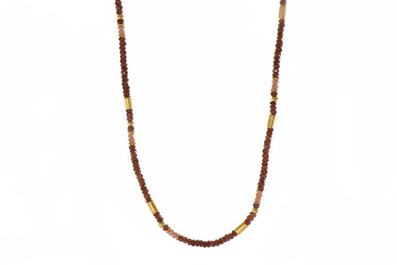 Garnet and Moonstone 3mm Necklace with 24k Gold Vermeil Accents