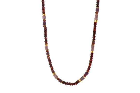 Garnet, Ruby, and Rhodonite 5mm Necklace with 24k Gold Vermeil Accents