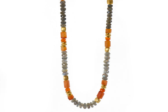 Labradorite and Carnelian 8mm Necklace with 24k Gold Vermeil Accents