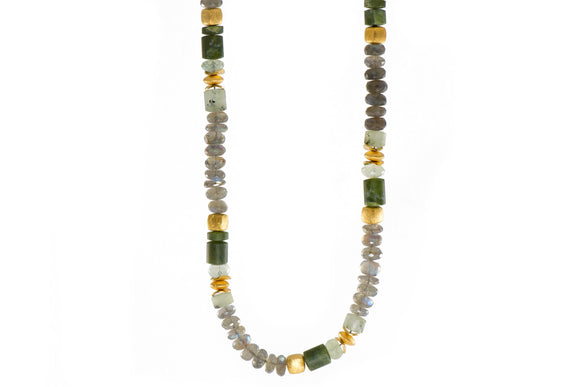 Labradorite and Prehnite 8mm Necklace with 24k Gold Vermeil Accents
