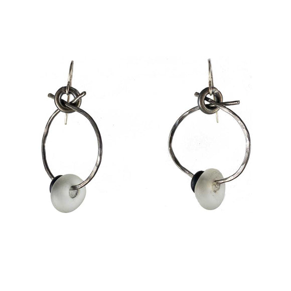 Silver Hoops White Black Glass Earrings