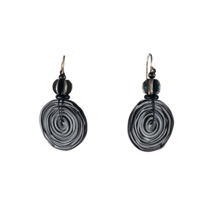 Black Glass Circle Earrings